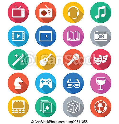 Entertainment flat color icons - csp20811858