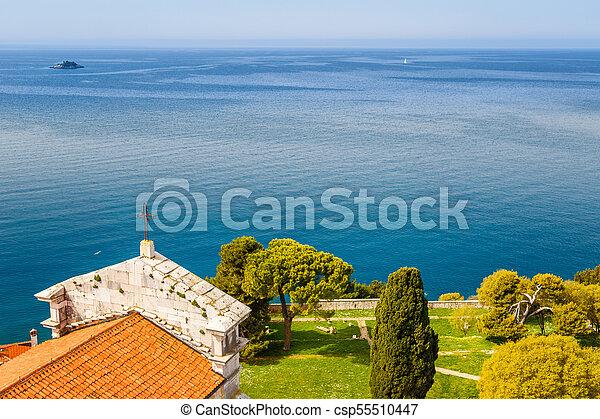entfernung, stadt, insel, rovinj, meer, klein, kathedrale, turm, europe., kroatien, ansicht - csp55510447
