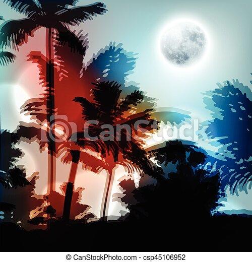 entiers, arbres, lune, nuit paume, paysage - csp45106952