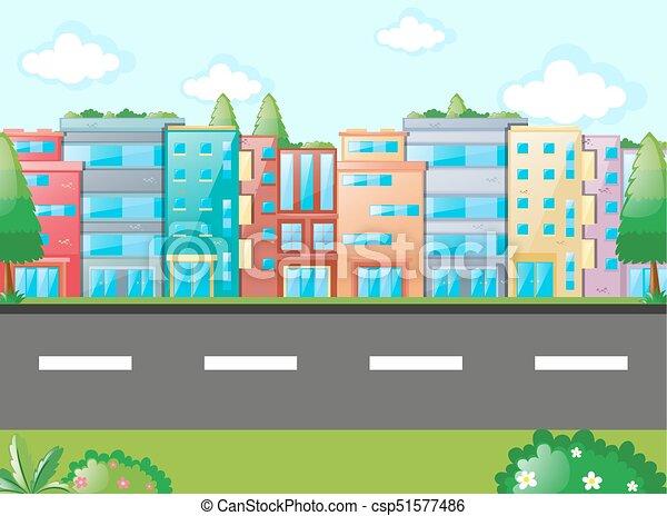 Entlang, viele, gebäude, szene, straße. Gebäude, viele,... Vektor ...