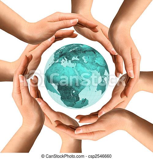 entourer, mains, la terre - csp2546660