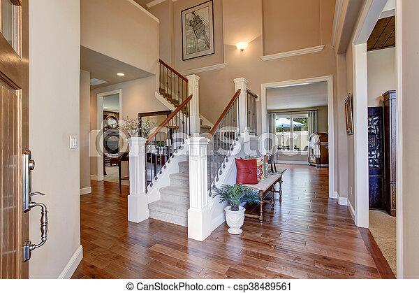 entrée, bois dur, maison, intérieur, floor., murs, beige, vue.