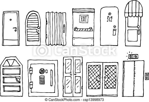entrée, ensemble, portes - csp13998973