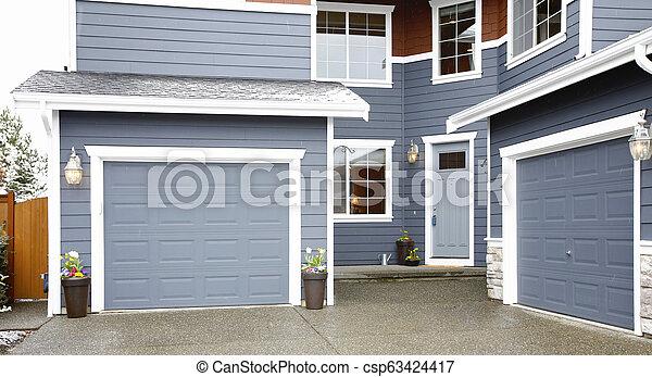 entrée, gris, maison, histoire, deux, grand, principal, exterior. - csp63424417