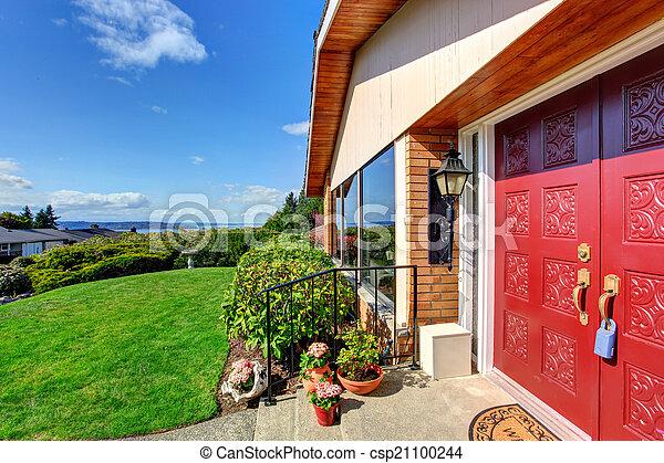 Entrée, porte, porche, maison, moderne, rouges. Porte, porche ...