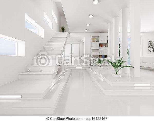 entrée, render, intérieur, blanc, salle, 3d - csp16422167