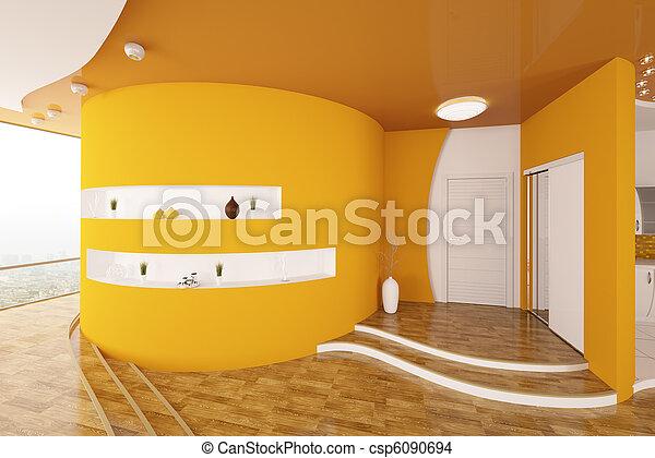 entrée, render, moderne, conception, intérieur, salle, 3d - csp6090694
