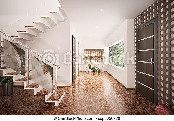 entrée, render, moderne, intérieur, salle, 3d - csp5050920