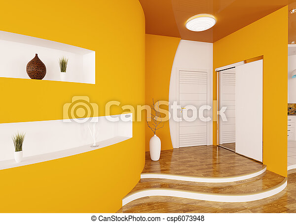 entrée, render, moderne, intérieur, salle, 3d - csp6073948