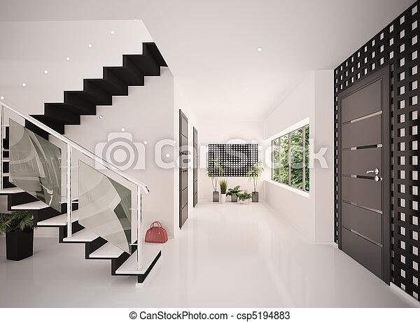 entrée, render, moderne, intérieur, salle, 3d - csp5194883