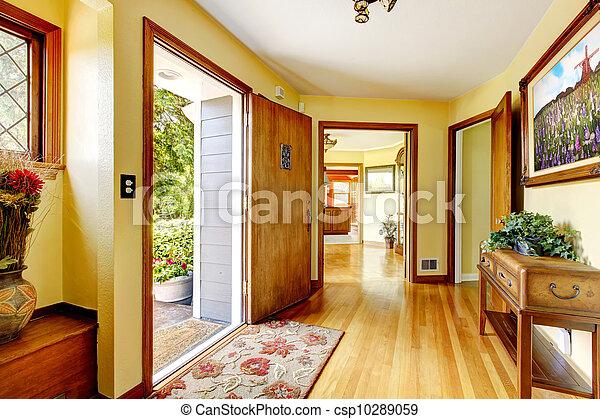 entrée, vieux, maison, walls., jaune, grand, luxe, art - csp10289059