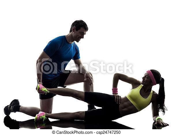 entraîneur, silhouette, séance entraînement, exercisme, femme, fitness, homme - csp24747250