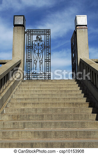 entrance an iron gate to vigeland park in Oslo - csp10153908