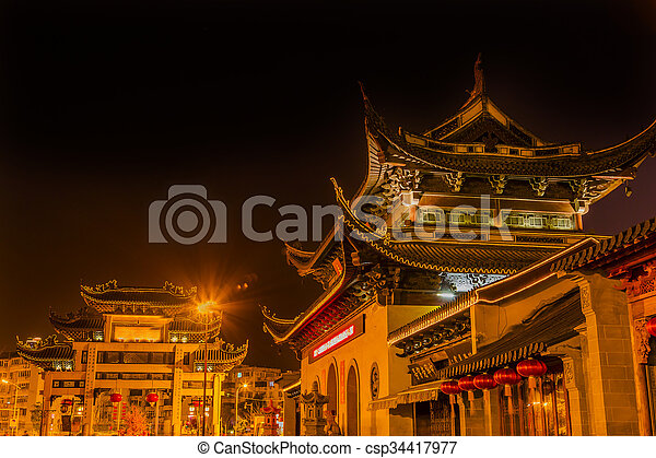 Entrance Gate Buddhist Nanchang Temple Pagoda Wuxi Jiangsu China Night - csp34417977