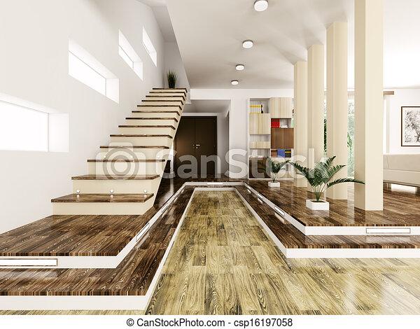 Entrance hall interior d render interior of modern entrance hall