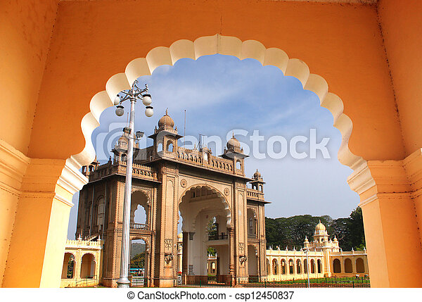 Entrance of majestic mysore palace from an arch. The palace is a historic monument located in mysore in south karnataka, India and is a huge tourist attraction. - csp12450837