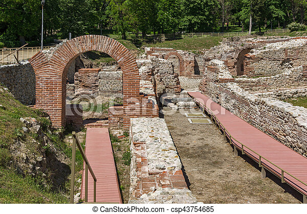 Entrance of roman bath in ancient Diocletianopolis, town of Hisarya, Plovdiv Region, - csp43754685