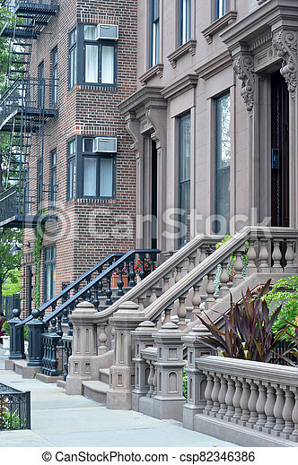 Entrance of the building in the city. Background. - csp82346386
