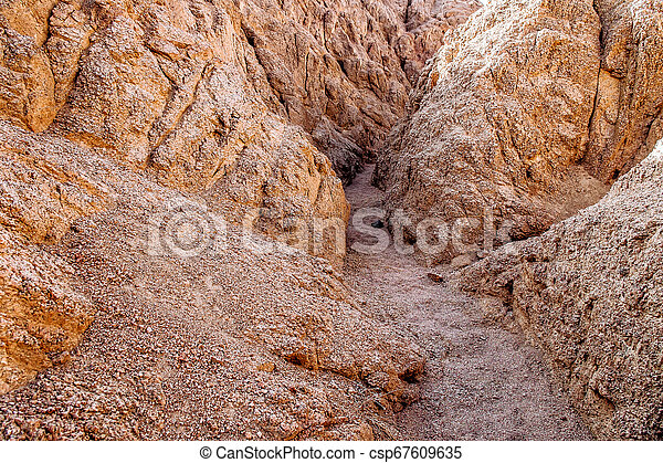 Entrance To Closed Canyon In The Hiking Trail In The Desert Region Of Sinai Peninsula Egypt Rocks Carved By Winds Rugged