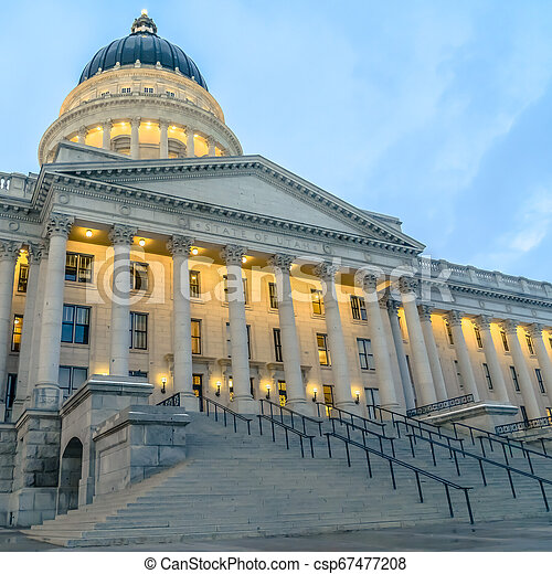 Entrance to historic Utah State Capital Building - csp67477208