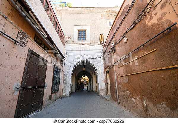Entrance to the oldest part of Marrakech, Morocco - csp77060226