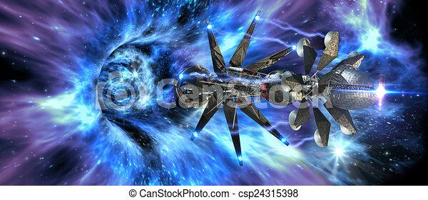 Nave espacial entrando en un agujero de gusano - csp24315398