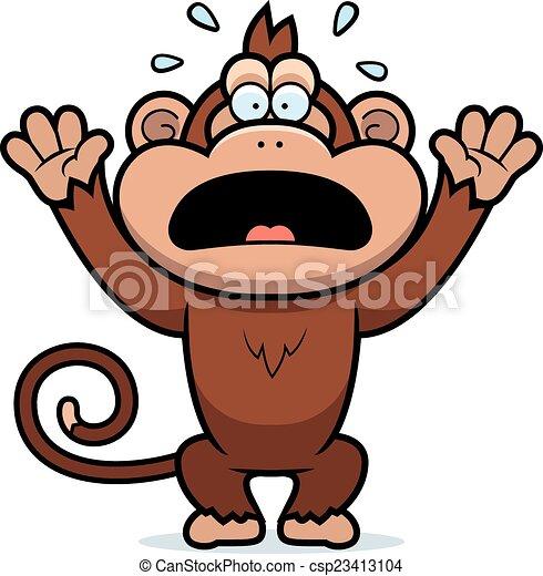Mono de dibujos animados entrando en pánico - csp23413104