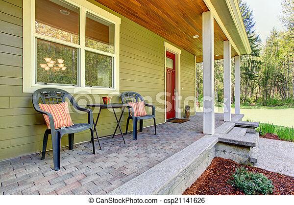 Entrata veranda campagna casa sedie exterior vista - Entrata di casa ...