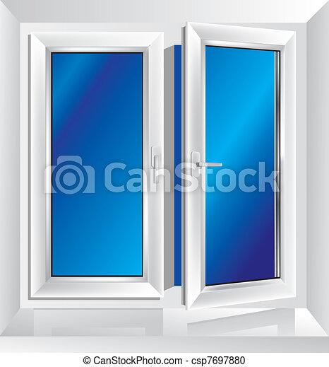 Una ventana de plástico blanca entreabierta - csp7697880