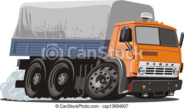entrega, caminhão carga, caricatura, / - csp13684607