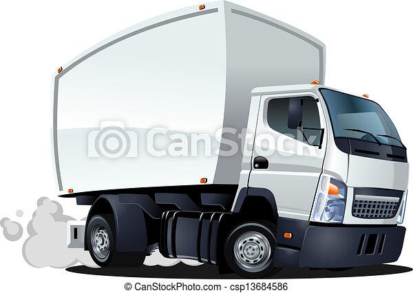 entrega, caminhão carga, caricatura, / - csp13684586