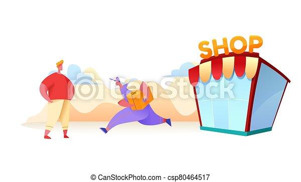 entrega, corriente, cliente, mensajero, vector, tienda, plano - csp80464517
