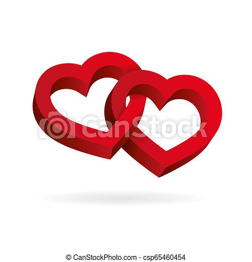 entrelaçado, tridimensional, valentine, volume., dois, ilusão, experiência., óptico, corações, branca, dia, 3d - csp65460454