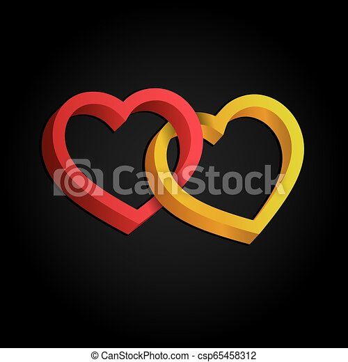 entrelaçado, tridimensional, valentine, volume., dois, ilusão, day., experiência., vetorial, corações, óptico, 3d, branca, illustration. - csp65458312