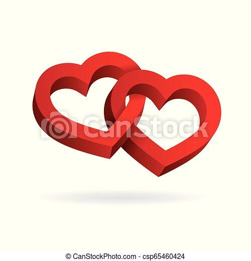 entrelaçado, tridimensional, valentine, volume., dois, ilusão, day., experiência., vetorial, corações, óptico, 3d, branca, illustration. - csp65460424