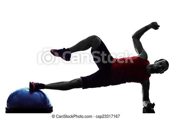 El hombre bosu equilibra entrenador ejercicios de fitness silueta - csp23317167