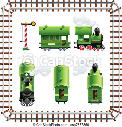 Locomotora verde vintage con set de entrenador - csp7867860