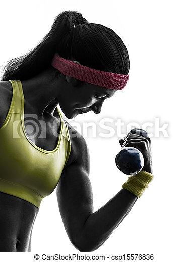 Una mujer ejercitando ejercicio de entrenamiento de pesas - csp15576836