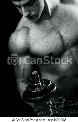 entrenamiento, -, muscular, culturismo, dumbbell, hombre - csp4404202