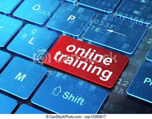 El concepto de educación: teclado de computadora con palabra Online Entrenamiento en el fondo de botón, versión 3D - csp13385617