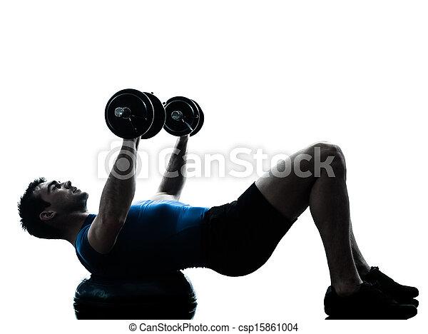 El hombre ejercitando postura de entrenamiento de peso bosu - csp15861004