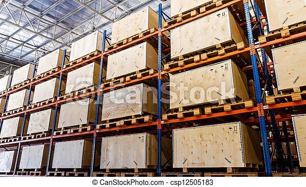 entrepôt, fabrication, stockage, étagères - csp12505183