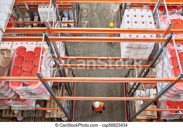 entrepôt, grand, ouvriers - csp56623434