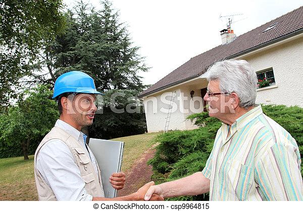 Entrepreneur and client shaking hands - csp9964815
