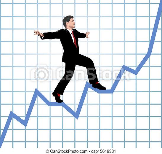 entrepreneur, montée, diagramme, démarrage - csp15619331