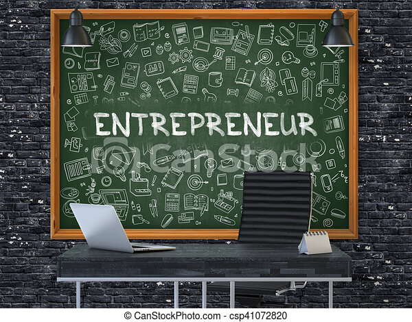 Entrepreneur on Chalkboard with Doodle Icons. 3D. - csp41072820