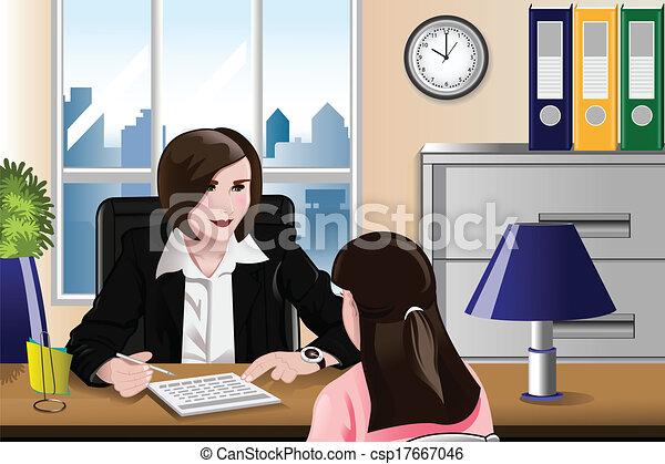 entrevue, métier, femme, avoir - csp17667046
