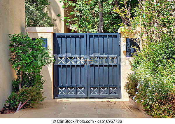 Entry black wrought Iron gates - csp16957736