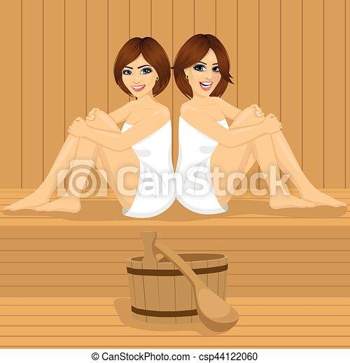 entspannend sitzen junge m dchen zur ck zwei h lzern sauna. Black Bedroom Furniture Sets. Home Design Ideas