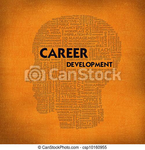 Word Cloud Business Konzept in Kopfform, Karriereentwicklung - csp10160955